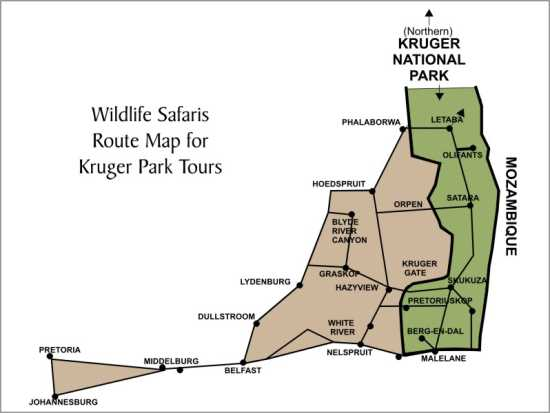 Map of the Kruger National Park